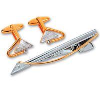 Набор. Заколка для галстука, запонки (цвет: серебристый, золотой, с треугольными вставками, EG-06720)