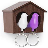 """Брелок-свисток и держатель двойной для ключей """"Sparrow"""" (коричневый/белый/фиолетовый)"""