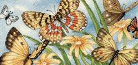 """Вышивка крестом """"Виньетка с бабочками"""" (200x100 мм)"""