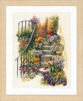 "Вышивка крестом ""Лестница в цветах"" (270х370 мм)"