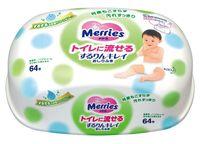 """Влажные салфетки детские """"Merries Flushable"""" (64 шт.)"""
