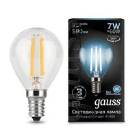 """Лампа светодиодная """"Filament. Шар"""" 7W 580lm 4100К Е14 LED 1/10/50"""
