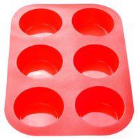 Форма силиконовая для выпекания кексов (260x175x30 мм; красная)
