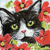 "Алмазная вышивка-мозаика ""Кот в цветах"" (200х200 мм)"