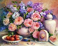 "Алмазная вышивка-мозаика ""Розовый натюрморт"" (500x400 мм)"