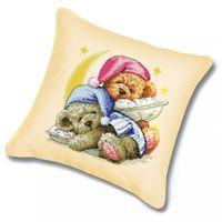 "Вышивка крестом ""Подушка. Два медвежонка"""
