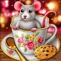 "Алмазная вышивка-мозаика ""Крысенок в чашке"" (150х150 мм)"