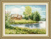 "Вышивка крестом ""Домик у озера"" (222х301 мм)"