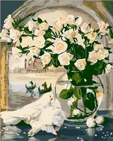 "Картина по номерам ""Белые розы и голуби"" (400х500 мм)"