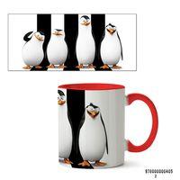 """Кружка """"Пингвины Мадагаскара"""" (405, красная)"""