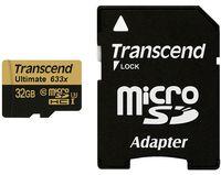 Карта памяти microSDHC 32GB Transcend Ultimate 633x TS32GUSDU3 UHS-I U3 (Class 10) +SD адаптер