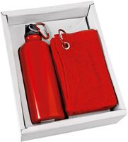 Набор. Фляжка (500 мл), полотенце (красные)
