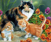 """Картина по номерам """"Котята на прогулке"""" (300х420 мм)"""