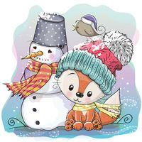 """Репродукция на холсте """"Лисенок и снеговик"""""""