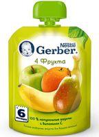 """Детское пюре Gerber """"4 фрукта"""" (90 г)"""
