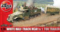"""Набор техники """"White Half-Track M3A1 & 1 Ton Trailer"""" (масштаб: 1/76)"""