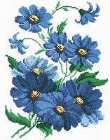 """Вышивка крестом """"Синие цветочки"""" (200х290 мм)"""