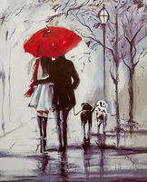 """Картина по номерам """"Прогулка под красным зонтом"""" (400х500 мм)"""