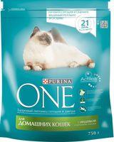 Корм сухой для домашних кошек (750 г; индейка и цельные злаки)