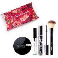 """Подарочный набор """"Relouis"""" (пудра, тушь для ресниц, блеск, кисть для макияжа)"""