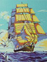 "Картина по номерам ""Парусник и чайки"" (400x500 мм)"