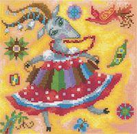 """Вышивка крестом """"Веселая коза"""" (170x170 мм)"""