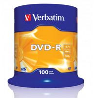 Диск DVD-R 4.7Gb 16x Verbatim CakeBox 100