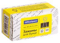 """Зажимы для бумаги """"OfficeSpace"""" (12 шт.; 15 мм; черные)"""