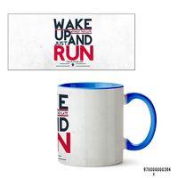"Кружка ""Wake up and run"" (394, голубая)"