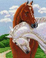 """Вышивка крестом """"Пара лошадей"""" (130x150 мм)"""