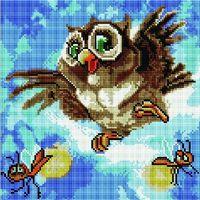 """Алмазная вышивка-мозаика """"Смешная сова"""" (300х300 мм)"""