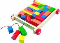 """Каталка """"Вагончик с разноцветными кубиками"""" (34 кубика)"""