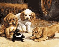 """Картина по номерам """"Любопытные щенки"""" (400х500 мм)"""