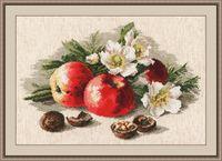 """Вышивка крестом """"Натюрморт с яблоками"""" (380x240 мм)"""