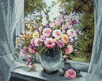 "Алмазная вышивка-мозаика ""Цветы на подоконнике"" (380х480 мм)"