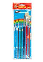 Набор кистей с цветными ручками (6 шт.; пони, щетина)
