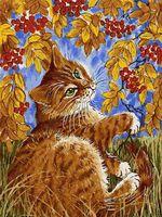 """Картина по номерам """"Кот с рябиной"""" (300х400 мм)"""