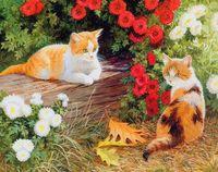 """Вышивка бисером """"Кошечки в саду"""" (230х300 мм)"""