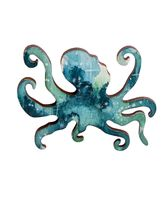 """Значок деревянный """"Космический осьминог"""" (синий)"""