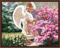 "Картина по номерам ""Ангелочек в саду"" (400х500 мм)"