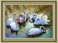 "Алмазная вышивка-мозаика ""Лебеди"" (530х410 мм)"