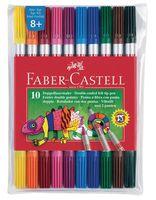 Фломастеры двухсторонние Faber-Castell в футляре (10 цветов)