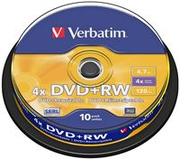 Диск DVD+RW 4.7Gb 4x Verbatim CakeBox 10