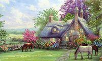 """Канва с нанесенным рисунком """"Лошади на пастбище"""""""