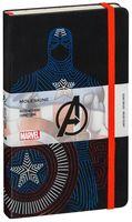 """Записная книжка Молескин """"Captain America"""" в линейку (большая; твердая черная обложка)"""