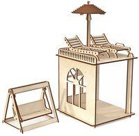 """Сборная деревянная модель """"Пристройка с мебелью и качелями. Премиум"""""""
