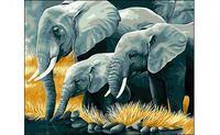 """Картина по номерам """"Слоны на водопое"""""""
