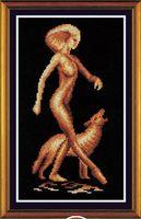"""Вышивка крестом """"Девушка с волком"""""""