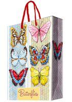 """Пакет бумажный подарочный """"Тропические бабочки"""" (17,8х22,9х9,8 см; арт. 44183)"""