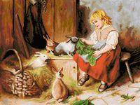 """Вышивка крестом """"Кормление кроликов"""""""